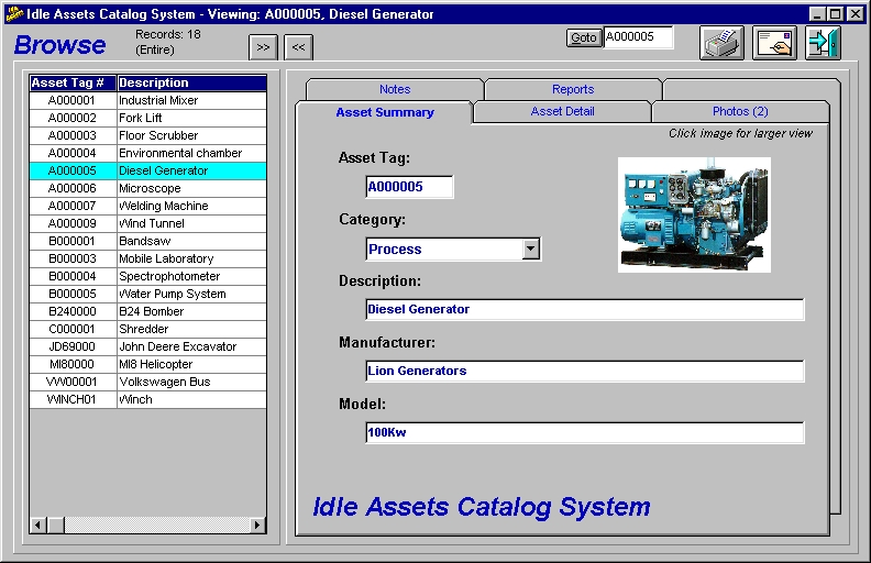 Idle Assets Catalog System